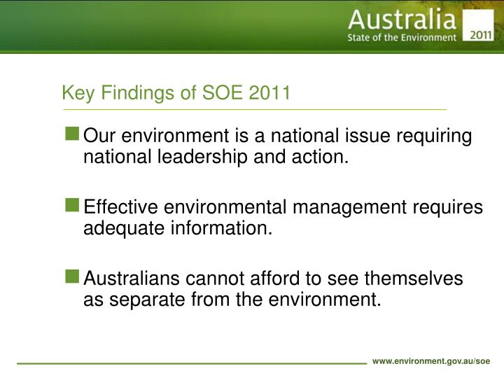Key Findings of SOE 2011