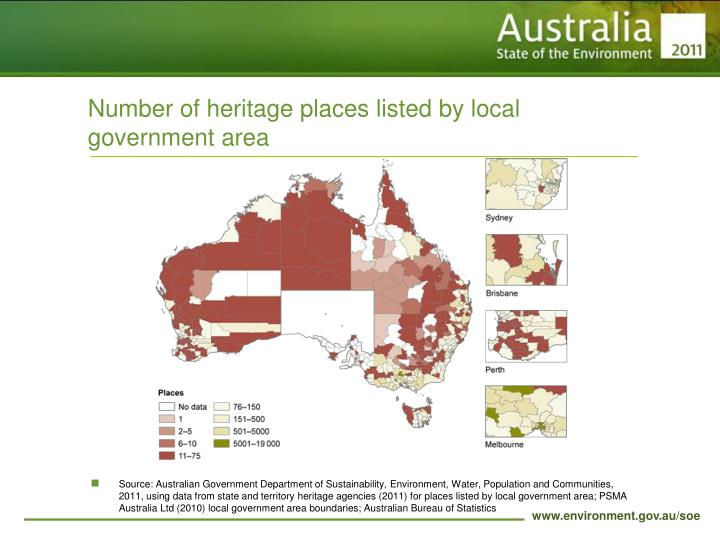 Number of heritage places listed by local government area