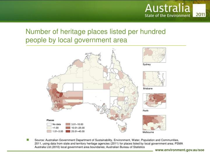 Number of heritage places listed per hundred people by local government area