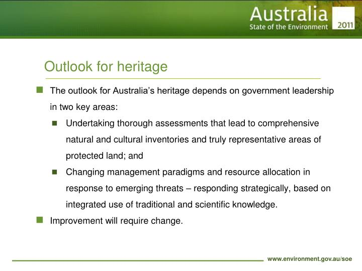 Outlook for heritage