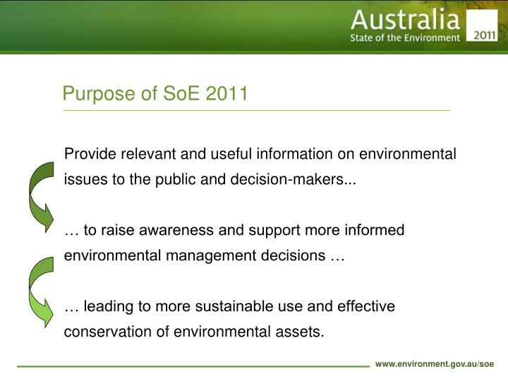 Purpose of SoE 2011