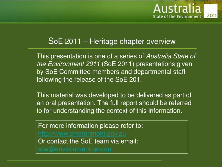 S oe 2011 heritage chapter overview