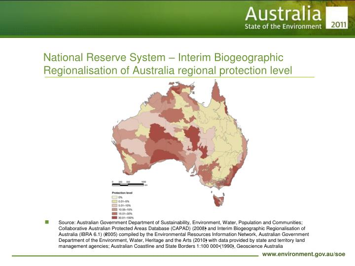 National Reserve System – Interim Biogeographic Regionalisation of Australia regional protection level