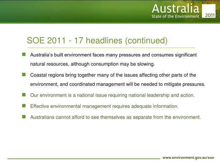 SOE 2011 - 17 headlines (continued)