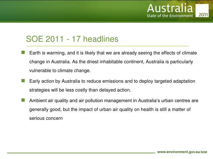 SOE 2011 - 17 headlines
