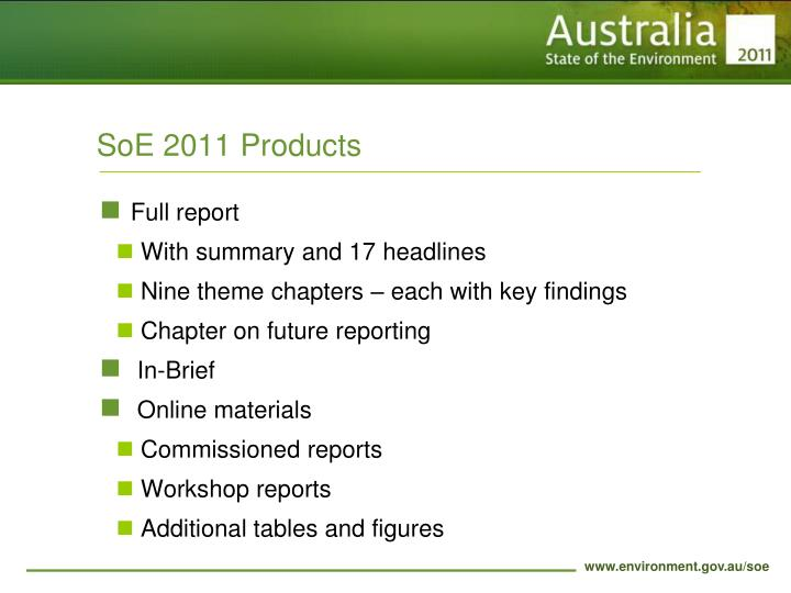 SoE 2011 Products