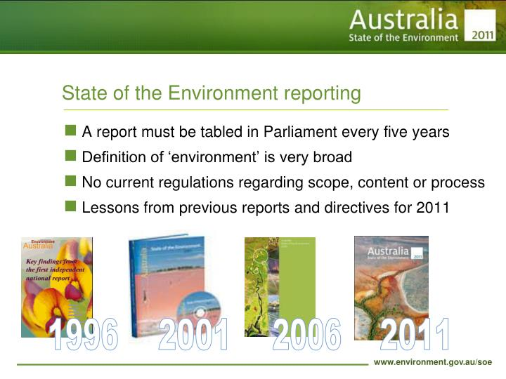 State of the environment reporting