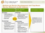 bottom up sector development and top down barrier removal via bc indices