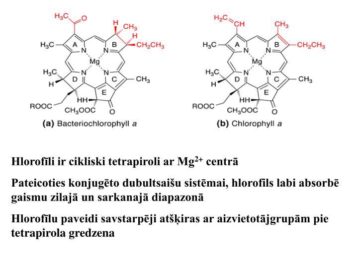 Hlorofīli ir cikliski tetrapiroli ar Mg