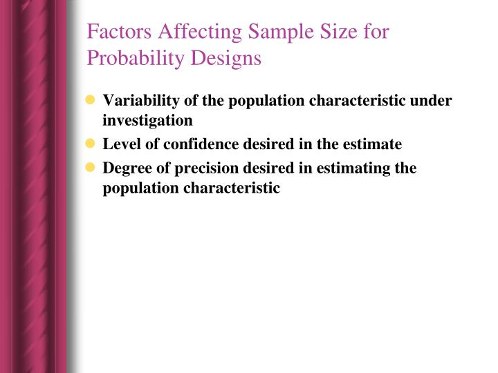 Factors Affecting Sample Size for Probability Designs