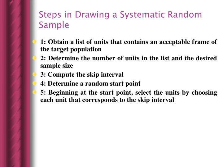 Steps in Drawing a Systematic Random Sample
