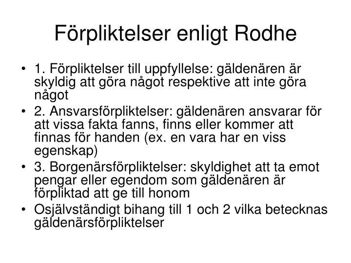 Förpliktelser enligt Rodhe