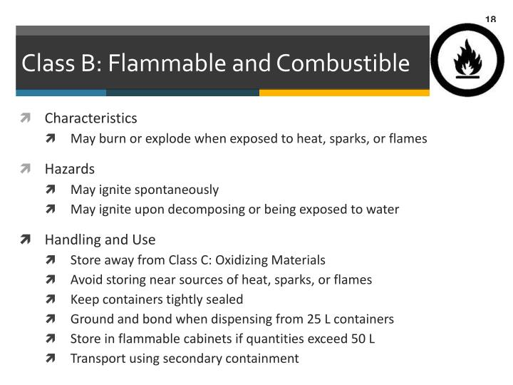 Class B: Flammable and Combustible