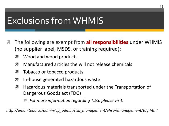 Exclusions from WHMIS