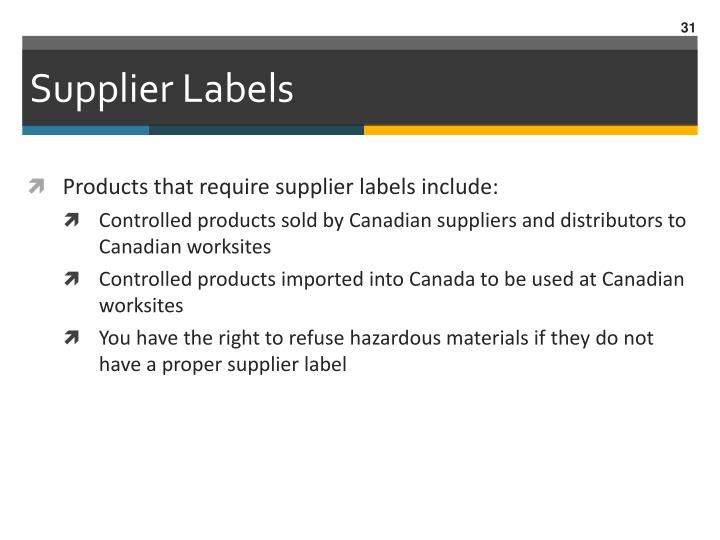 Supplier Labels