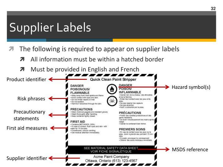 Supplier Labels