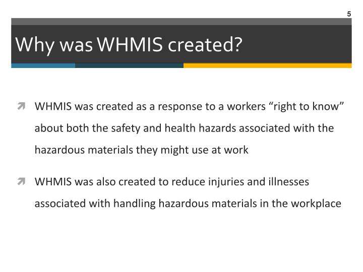 Why was WHMIS created?