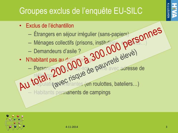 Groupes exclus de l'enquête EU-SILC
