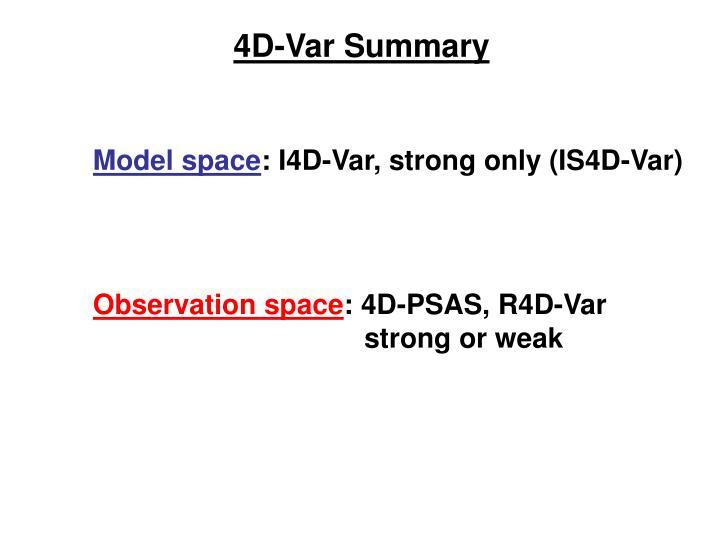 4D-Var Summary