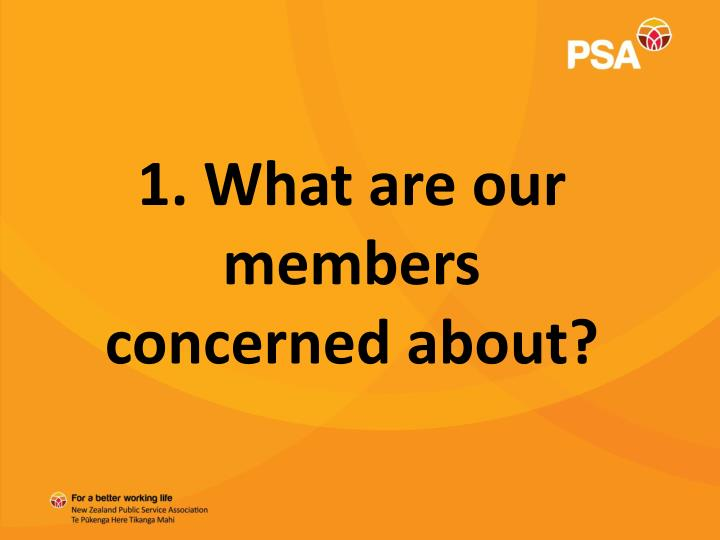 1. What are our members concerned about?