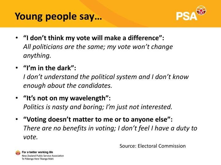 Young people say…