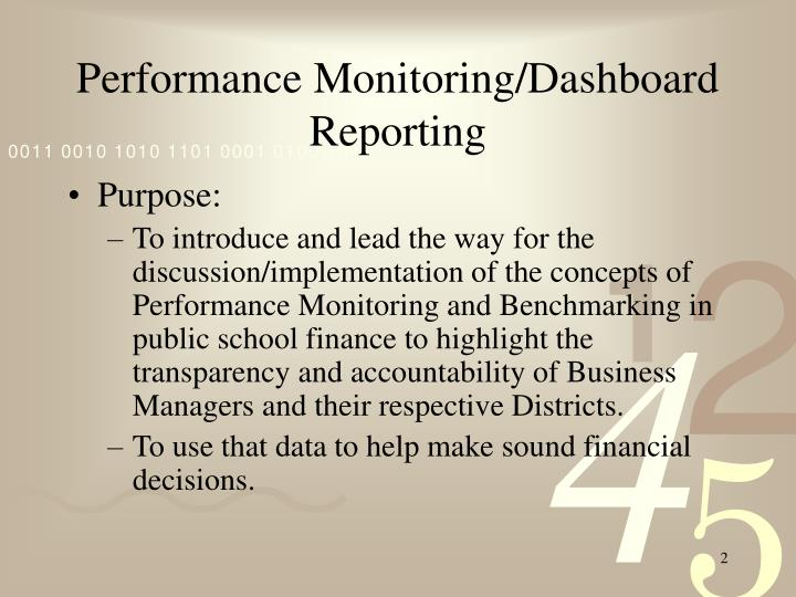 Performance Monitoring/Dashboard Reporting
