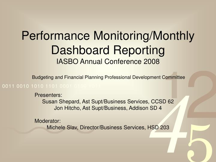 Performance Monitoring/Monthly Dashboard Reporting