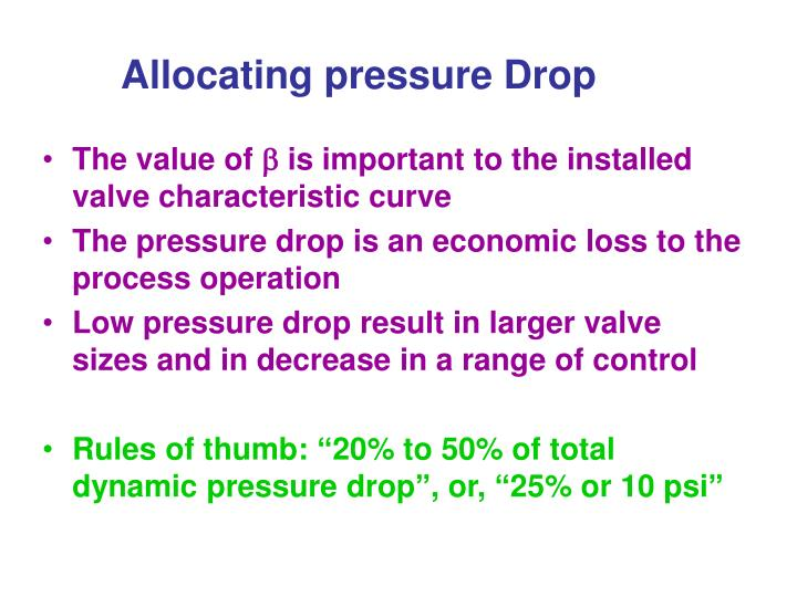 Allocating pressure Drop