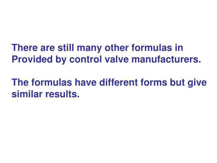 There are still many other formulas in