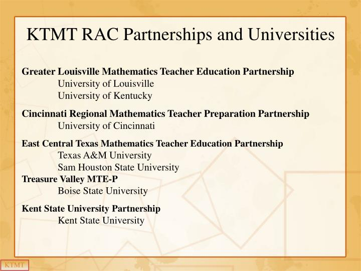 Ktmt rac partnerships and universities
