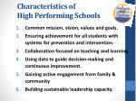 characteristics of high performing schools