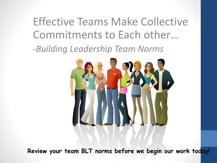 Effective Teams Make Collective Commitments to Each other…