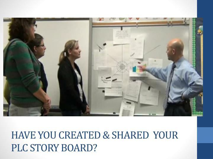 Have you Created & Shared  your PLC Story Board?