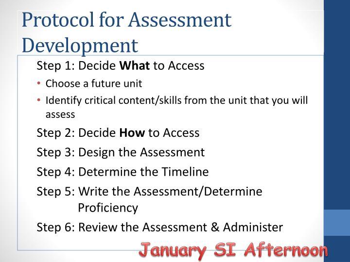 Protocol for Assessment Development