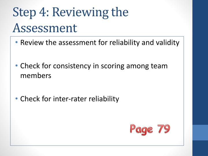 Step 4: Reviewing the Assessment