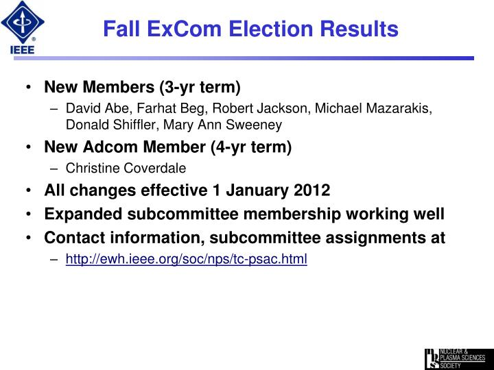 Fall excom election results