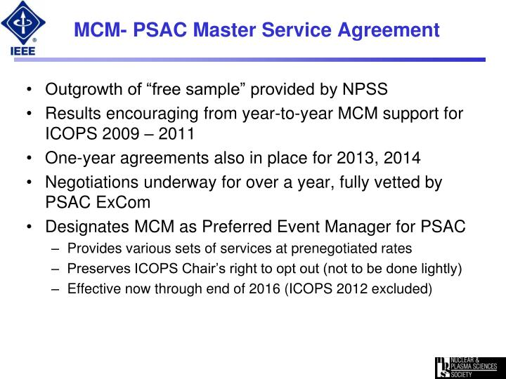 MCM- PSAC Master Service Agreement