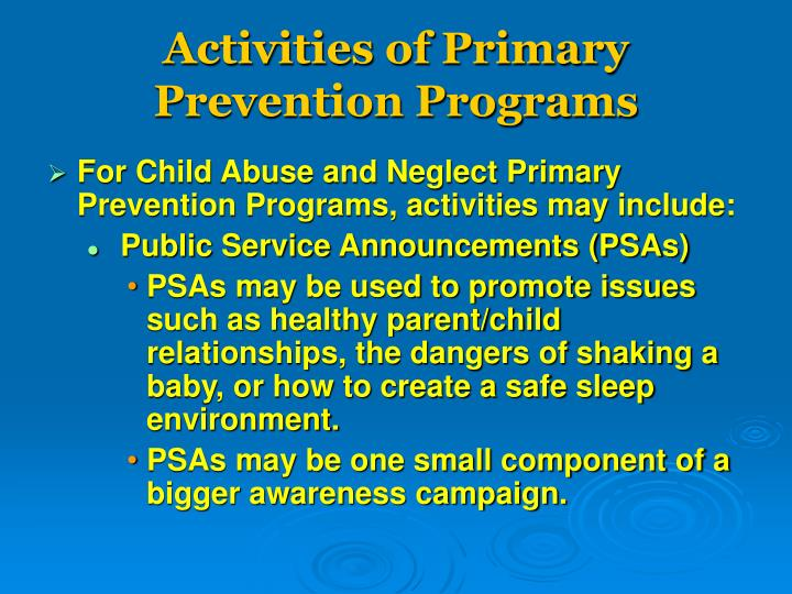 Activities of Primary Prevention Programs