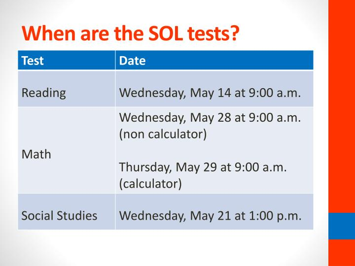 When are the SOL tests?