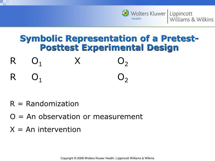 Symbolic Representation of a Pretest-Posttest Experimental Design