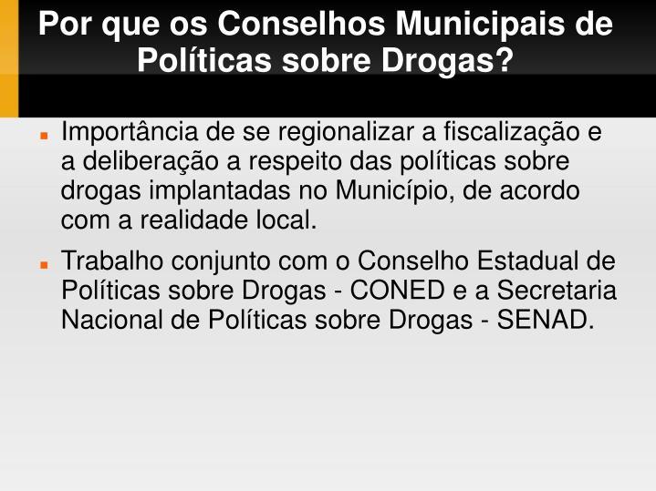 Por que os Conselhos Municipais de Políticas sobre Drogas?