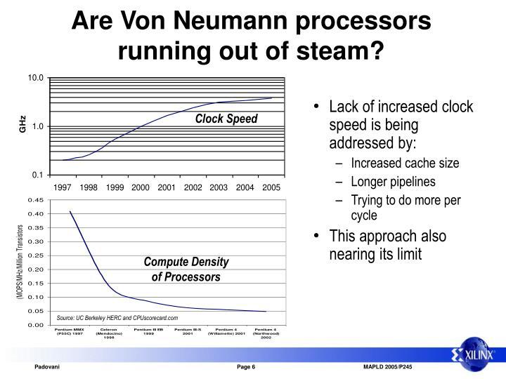 Are Von Neumann processors running out of steam?