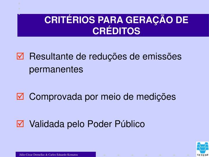CRITÉRIOS PARA GERAÇÃO DE CRÉDITOS