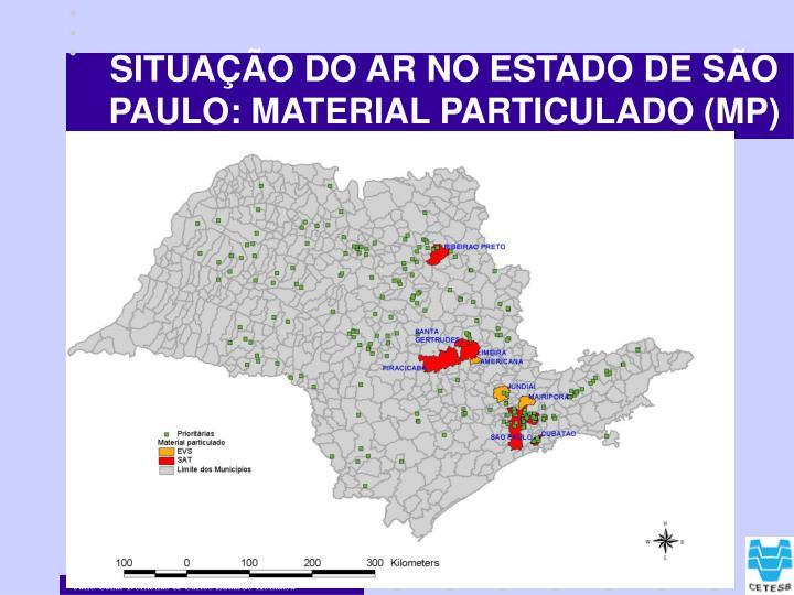 SITUAÇÃO DO AR NO ESTADO DE SÃO PAULO: MATERIAL PARTICULADO (MP)