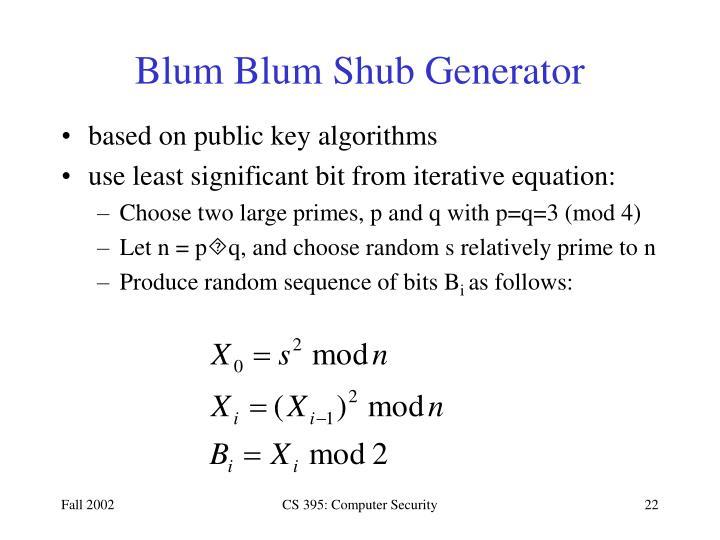 Blum Blum Shub Generator