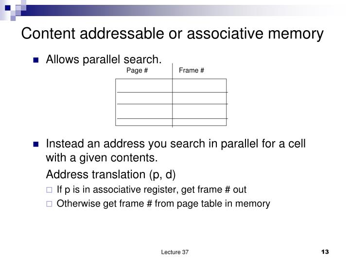 Content addressable or associative