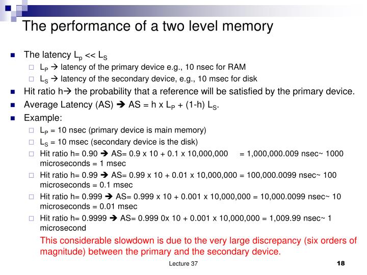 The performance of a two level memory
