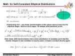 math for self consistent elliptical distributions