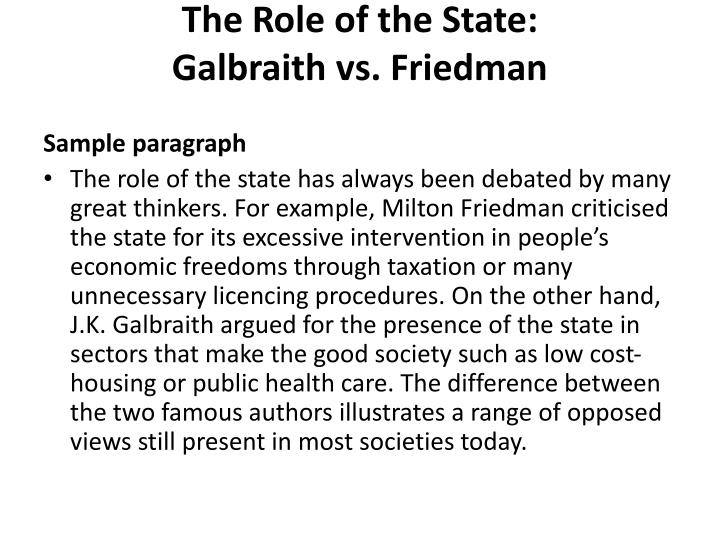 The Role of the State: