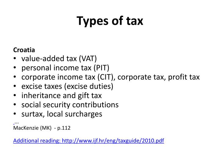 Types of tax